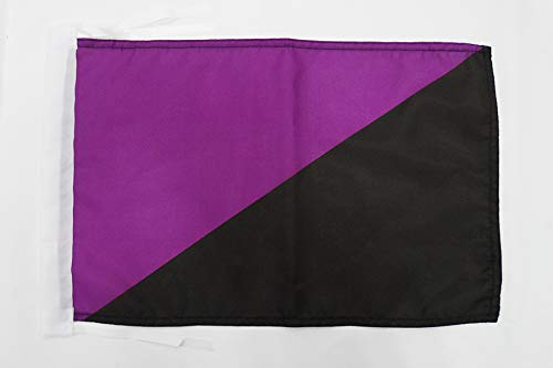 AZ FLAG Bandera del ANARQUISMO Feminista 45x30cm - BANDERINA ANARCOFEMINISMO 30 x 45 cm cordeles