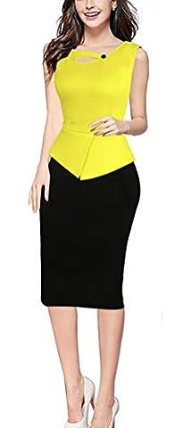 SunIfSnow - Robe spécial grossesse - Moulante - Uni - Sans Manche - Femme - jaune - XXXXXL