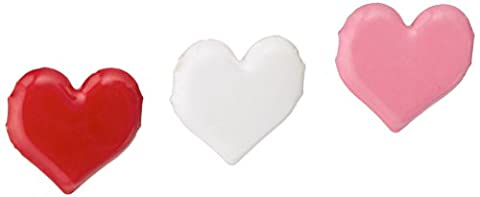 Painted Metal Paper Fasteners 50/Pkg-Hearts/Red, White & Pink