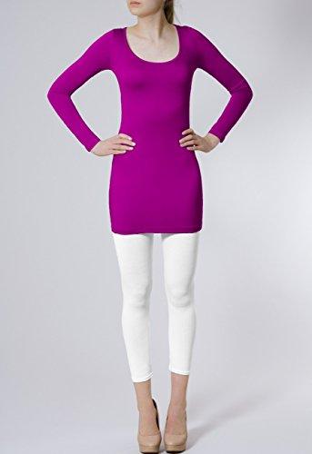 CASPAR SRT012 Damen Basic Longshirt Pink