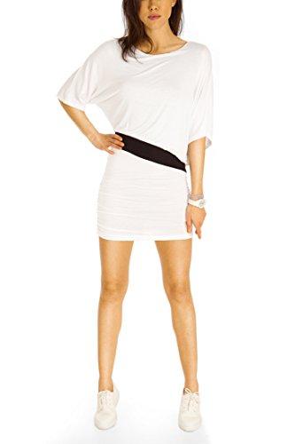 Bestyledberlin Damen Kleider, kurze Jerseykleider, Sommerkleider, Partykleider t111pn Weiß