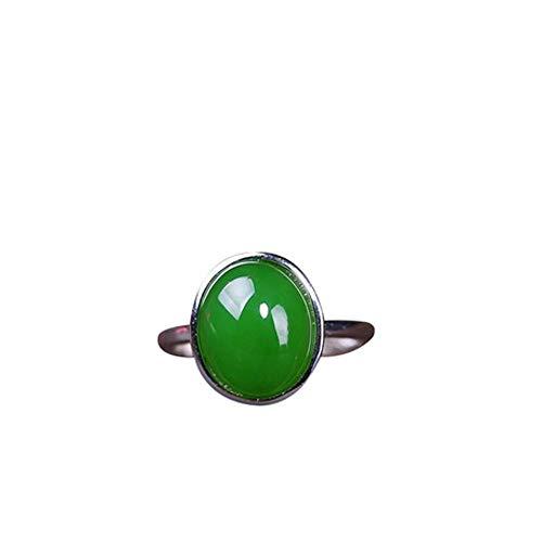 Mayanyan Frauen Verstellbarer Ring S925 Sterling Silber Inlay natürliche Jade Verlobungsring Jade Größe 8 * 10 Geschenke (Größe 8-hochzeit Ringe Für Frauen)