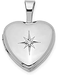 Black Bow Jewellery Company: 12 mm Diamant Herz Medaillon Sterlingsilber Stern