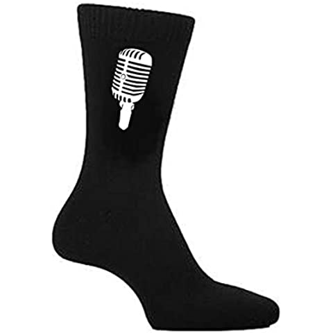 Microfono Retro Nero da uomo calzini grande taglia UK 5-12 EUR 39-46 US 6-7 (x6n217) - 42 Sign