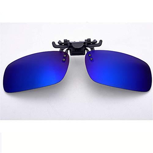 Taiyangcheng Polarisierte Linse Myopie Clip auf Sonnenbrille Männer Frauen Nachtsicht Clip auf Sonnenbrille Flip Up,Blau