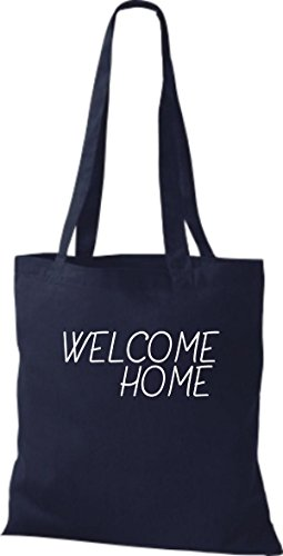 T-shirt In Tessuto Tinta Unita Borsa Di Cotone Benvenuto A Casa, Rifugiati, Soggiorno, Colore Oliva Blu