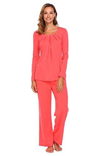 EKOUAER Damen Herbst Winter Schlafanzug Classischer Hausanzug Zweiteiliger Langarm Pyjama Nachtwäsche (3 Stücke) (3 Stück Pyjama Nachtwäsche)