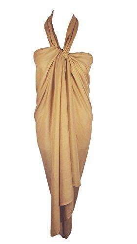 Einfarbig Sarong, Coverup, Schal, übergröße 110cm x 200cm Beige