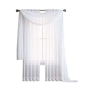 AsaTex Rod Pocket Semi-Sheer Window Curtains - 2 Pieces - Total size 108