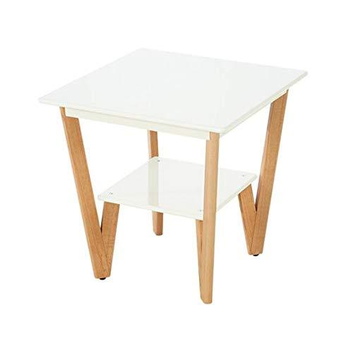 CJC Tables Petit Café Étagère 58cm Carré Téléphone/Side/Lampe/Chevet Table De Chevet/Tableau Final (Couleur : Blanc)