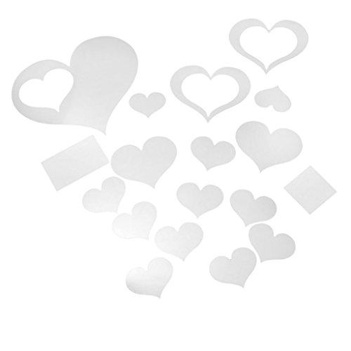 Spiegel-Aufkleber - SODIAL(R) Art Spiegel Kunst Abziehbild Aufkleber Wandhauptdekoration - Herzen