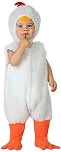 Atosa-23768 Disfraz de Gallina, Bebe T, Color blanco, 6 a 12 meses (23768