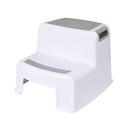 Cusfull Rutschfester Kinderschemel Tritthocker Kindersitz zum Toilettentraining Trittbank für Kinder, Badezimmer, Kinderzimmer, Händewaschen - 2 Stufen, Weiß/Grau