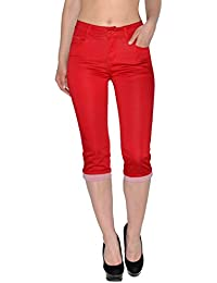 d6d6dcd37aa7 ESRA Damen Capri Hose Damen Caprihose Damen Kurze Jeans Hose Capri bis  Übergröße J242