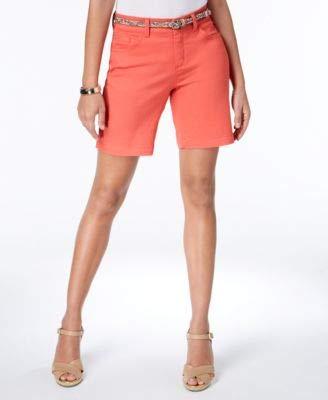 Lee Belted Shorts (LEE Pimento Womens Belted Five Pocket Bermuda Walking Shorts Pink 8)