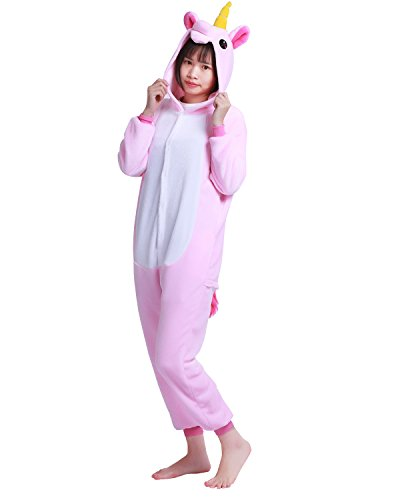 iiniim Enfant Fille Garçon Hauts Pyjama Siamois Licorne Grenouillère à Capuche Cartoon Animal Combinaison Déguisement Cadeau Noël Anniversaire Fête Rose 10-12 Ans