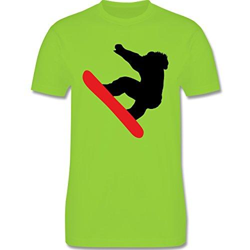 Wintersport - Snowboarder Schneebrett - Herren Premium T-Shirt Hellgrün