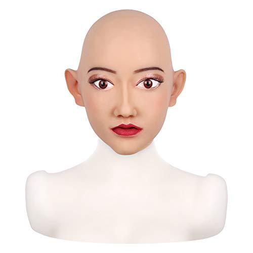 DMCR Handgemacht Silikon Kopf Maske Kopfbedeckung Kopf Modell Lebensecht Weiblich Gesicht Halloween Cosplay Kostüme Parodie Geschenk, Geeignet Zum Crossdresser Transvestit (Roboter Weibliche Kostüm)