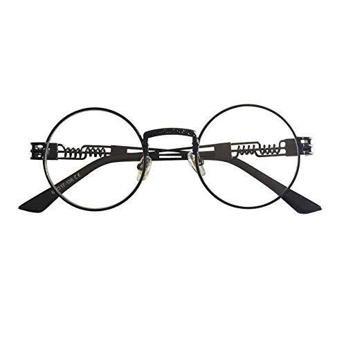 YMTP Rahmen Brillen Für Frauen Vintage Brille Frames Für Männer Männlich Nerd Metall, Schwarz