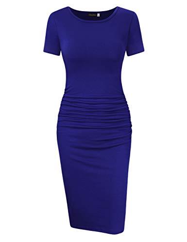 KOJOOIN Etuikleider Sommerkleid Bleistiftkleid Rundhals Kurzarm Abendkleid Knielang Business Kleider(Verpackung MEHRWEG) -