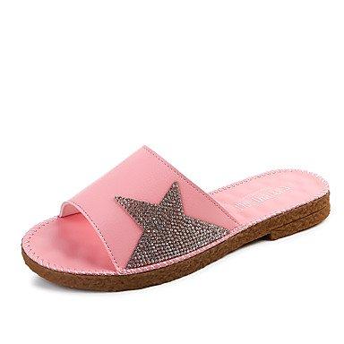 LQXZM La femme Chaussons & amp; tong sandales confort pu été Robe Casual Party & amp; soir quelques bottes mode Rhinestone Télévision HeelWhite Blushing Pink