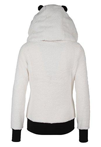 SUBLEVEL Damen Fleece Jacke Panda Style mit Öhrchen und Panda Gesicht white1