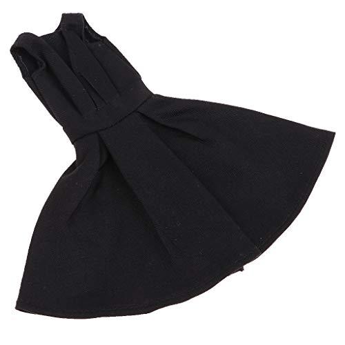 Baoblaze Mode Schwarz V Ausschnitt Abendkleid Knielang Partykleid Wickelkleid Sommer Kleidung Für 1/6 Mädchen Puppen Dress Up