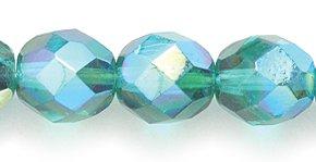 Preciosa Glasperle, poliert, rund, facettiert, 8 mm, Smaragdgrün, Aurora Borealis, 50 Stück