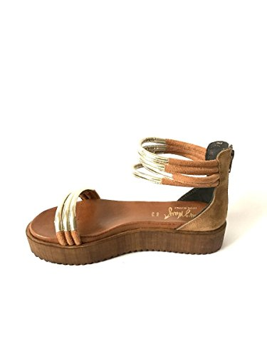 Sandali platform in pelle alla schiava nero oro cuoio made italy MainApps Cuoio