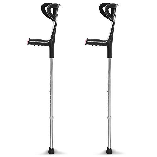 aiesi® stampelle ortopediche regolabili avambraccio coppia colore nero leggere in alluminio anodizzato (confezione da 2 pezzi) # bastoni canadesi # garanzia 24 mesi