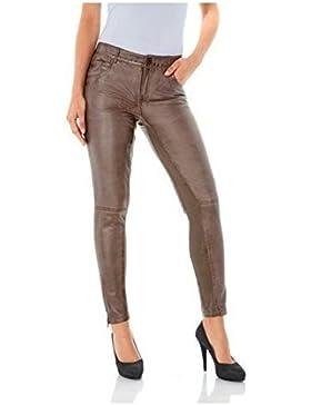 Pantalones cuero con Inserciones stretch Mujer de Rick Cardona
