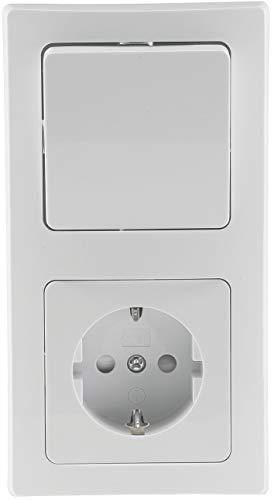 Delphi Steckdosen Schalter Elektro Sets I Steckdose Wechsel-Schalter Unterputz Einbau I Steckdose + Schalter + Rahmen Weiß -