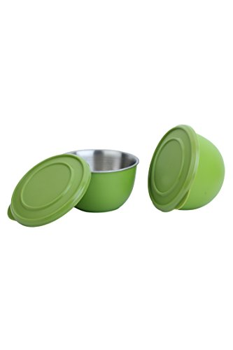 Homeish Metallo Microwave Safe Stainless Steel Plastic Coated Bowls with Lid (Green) Set of 2 - 13cms