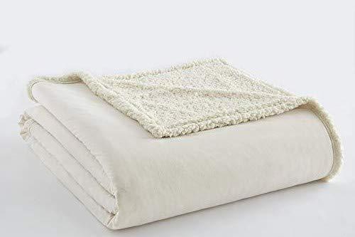 Shavel Home Produkte Bettwäsche Micro Flanell zu Elfenbeinfarben Sherpa Decke Full/Queen (Micro-flanell-decke)
