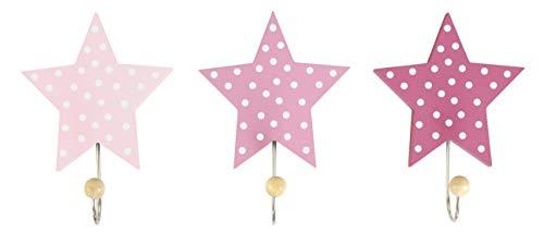 "JaBaDaBaDo \""Wandhaken Sterne 3er Set blau grau oder rosa Kinder Garderobe Kleiderhaken Junge Mädchen (Rosa)"