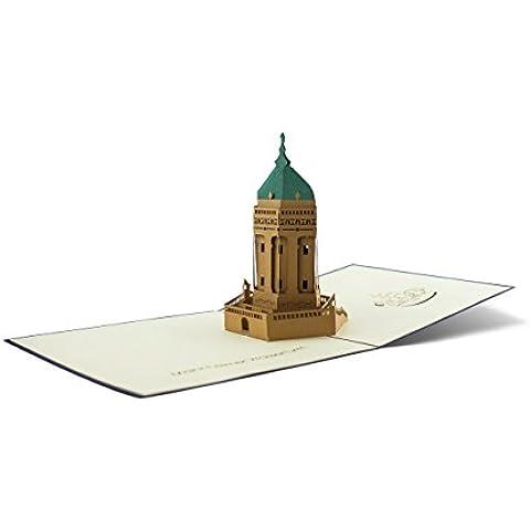 DIESE-KLAPPKARTEN® ARCHITETTURA - Carta di 3D Pop-Up | Vari motivi | Taglio laser | Fatto a mano | Carta di invito | Compleanno | Battesimo | Congratulazioni | Buono anniversario | Raccolta | Ringraziamento, Klappkarten Kategorien:A33 / Mannheimer Wasserturm