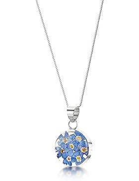 Silberschmuck mit echten Blumen: Kette, Anhänger - Vergissmeinnicht - rund - mit 45cm Silberkette