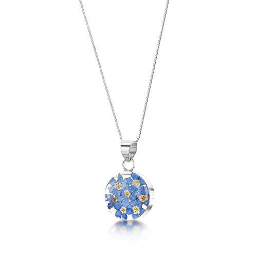 Shrieking Violet: Kettenanhänger - blaue Vergissmeinnicht - rund - 925 Sterling Silber - 45 cm Kette