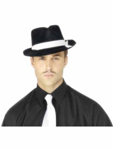 Black with White Band Al Capone Hat - Pack of 2