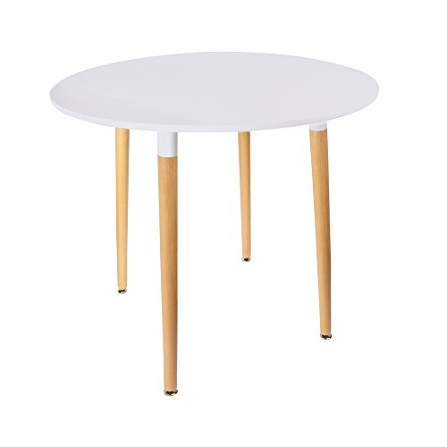 THE HOME DECO FACTORY HD3210 Table Blanche Ronde Bois/Métal/PP, Blanc, 76x76x75,5 cm