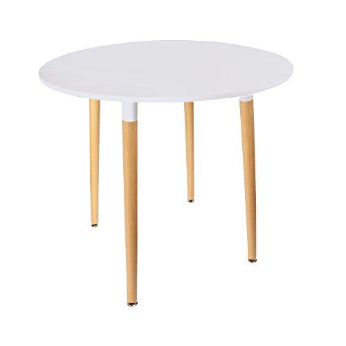 THE HOME DECO FACTORY HD3210 Table Ronde Bois/Métal/PP Blanc 76 x 76 x 75,50 cm