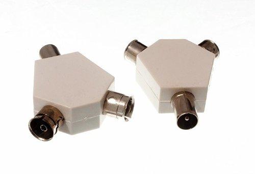 100 X COAXIAL CONECTOR COAXIAL TV AEREA TAPONES Y CONECTOR DE METAL