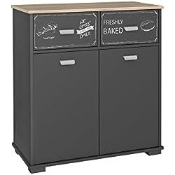 Buffet bas de cuisine 2 portes et 2 tiroirs Gris graphite90 cm