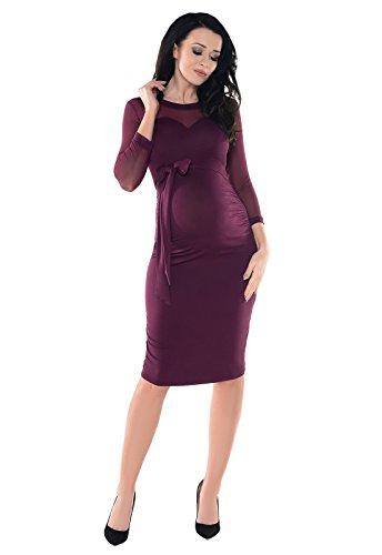 erzformig Dekollete Schwangerschaft Kleid mit Elastiche Spitzen Panel D012X (42, Plum (Plain Mesh)) ()