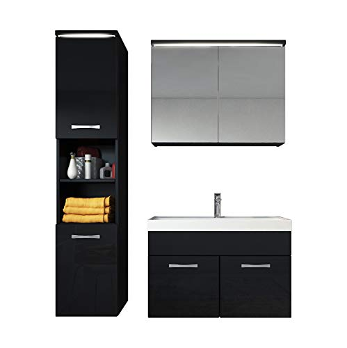 Badezimmer Badmöbel Set Paso LED 80 cm Waschbecken Hochglanz Schwarz Fronten - Unterschrank Hochschrank Waschbecken Spiegelschrank