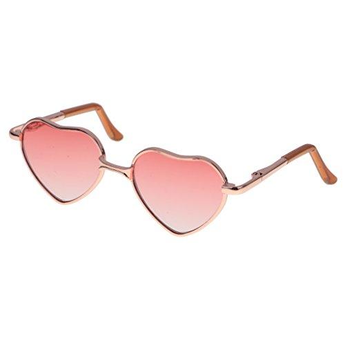 MagiDeal Fashion Puppen Brille Sonnenbrille mit Herz Rahmen für 1/6 Blythe Puppen - Goldrahmen + Leichte rote - Mit Puppen Herz