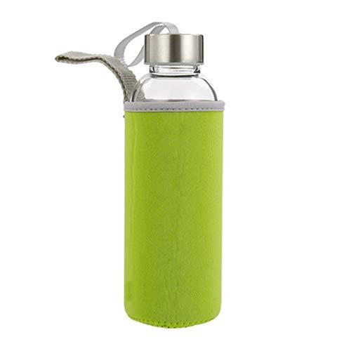 Z-overlord Glasflasche Trinkflasche Classic Tragbare 550ml BPA-frei für unterwegs Sportflasche Glas Wasserflasche zum Mitnehmen von kalten Heiß Getränken mit Neopren Tasche (Grün)