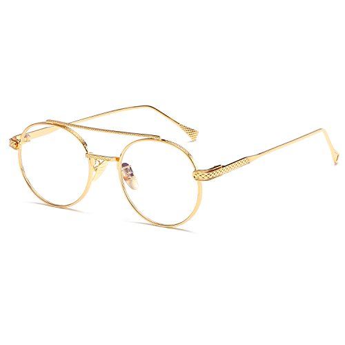 7368a596fe9 Men Women Round Sunglasses Retro Metal Frame Eyeglasses Korean Clear Lens  Glasses Male Female Optical Circle Plain Mirror