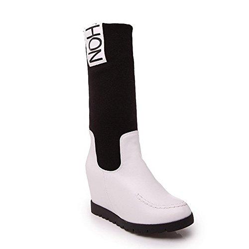 AllhqFashion Damen Rund Zehe Hoher Absatz Mitte-Spitze Gemischte Farbe Stiefel Weiß