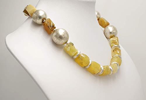 Echte Edelsteinkette Halskette kurz gelber Opal rechteckig handgemacht -